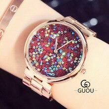 купить GUOU Luxury Brand Fashion Quartz watch Women Watches Full Colorful rhinestone Clock Female Reloj mujer relogio feminino по цене 2968.59 рублей