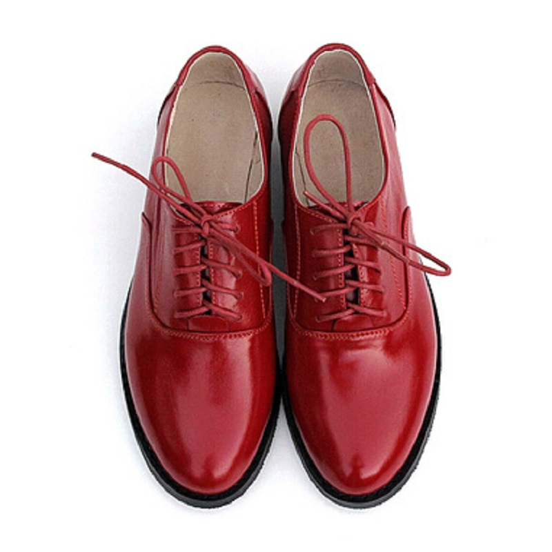 100% Genuine Leather Oxford Shoes For Women British Style Pointed Toe Women Brogues Oxfords Causal Flat Shoes Woman Big Size