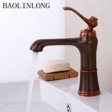 Antique Drawing Brass Bathroom Faucet Vanity Vessel Sinks Water Crane Mixer Single Bath Basin Tap
