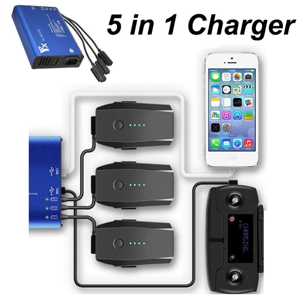5 в 1 Зарядное устройство для DJI Мавик Pro Platinum гул батарей пульт дистанционного управления зарядка через usb Порты и разъёмы быстрый смарт заря...
