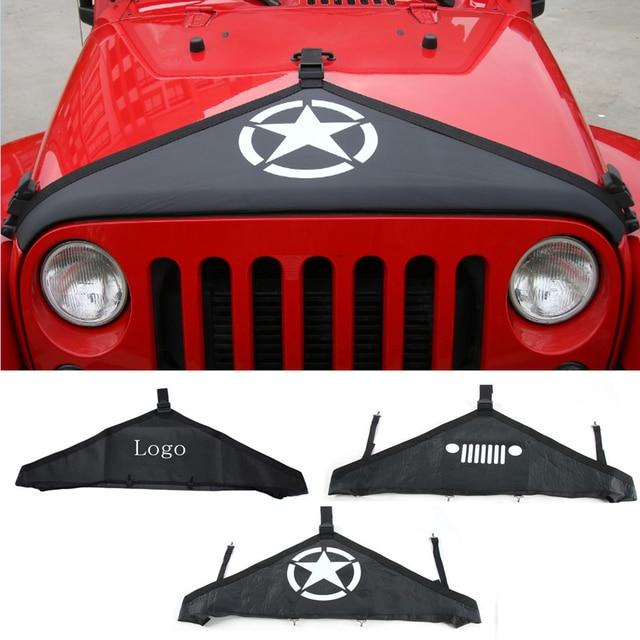 BBQ@FUKA 1Pc Black Denim Car Hood Bra Front End Cover Triangle Fit For Jeep TJ Wrangler  LJ 2007-2013 2014 2015 2016 2017