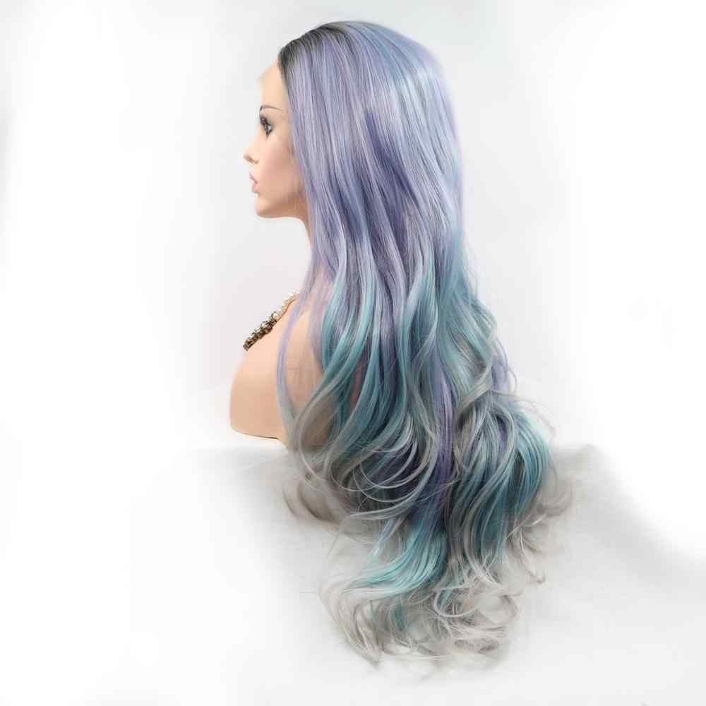 Pelucas delanteras de encaje sintético de onda Natural para mujeres negras pelucas largas de mitad de la parte larga Ombre gris púrpura pelucas delanteras de encaje belleza