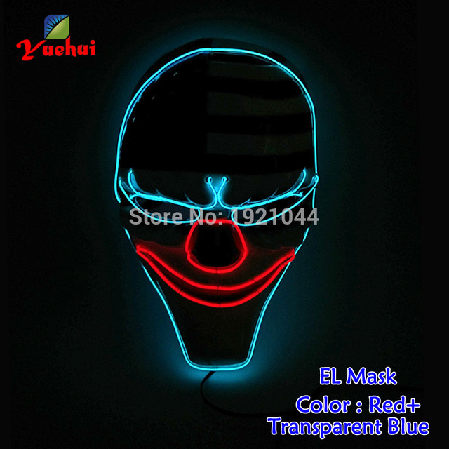 New arrival Sound Activated national flag Mask LED Neon light Flexible EL wire Glowing For dance Carnival Crazy Party Decoration