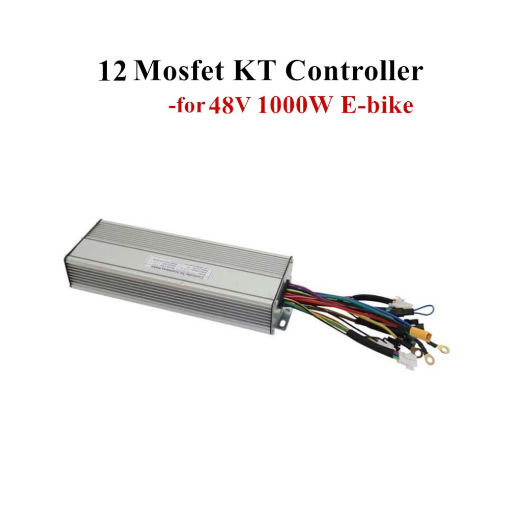 12 Mosfet KT Controller Fit for 48V 1000W Eletric Bicycle Brushless Gearless DC Hub Motor Dual Mode/Sine Wave E bike Programmer-in Electric Bicycle Accessories from Sports & Entertainment    1