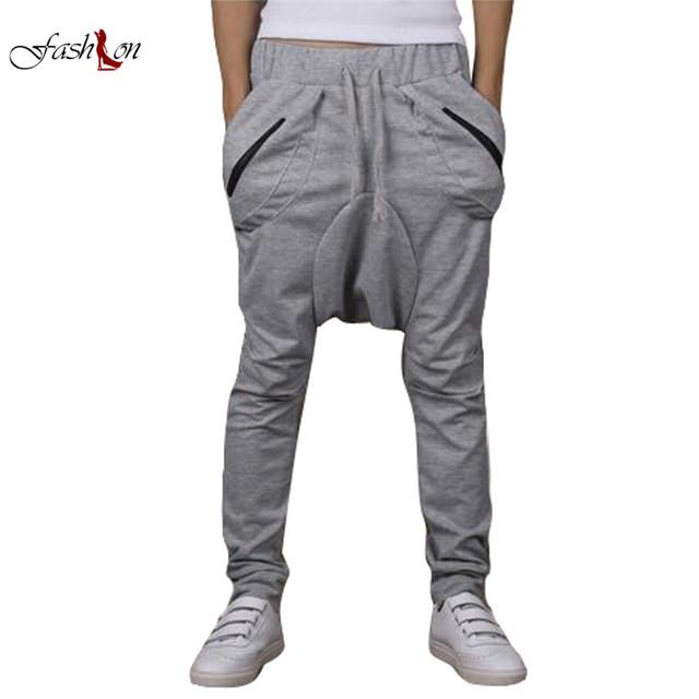 Hombres hip hop pantalones harem de la manera pantalones masculinos cremallera fresco caídos Pantalones Bajo La Entrepierna Solid Casual Calle Muchacho Joven Cruz pantalones