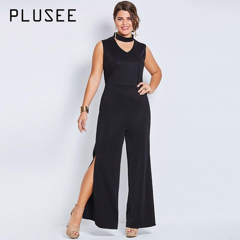 42017b79ca1 Plusee Jumpsuit Plus Size 4XL 5XL Women Autumn Plain Solid Black Broadcloth  Hollow Slim Jumpsuit Plus Size Women Jumpsuit-in Jumpsuits from Women s  Clothing ...