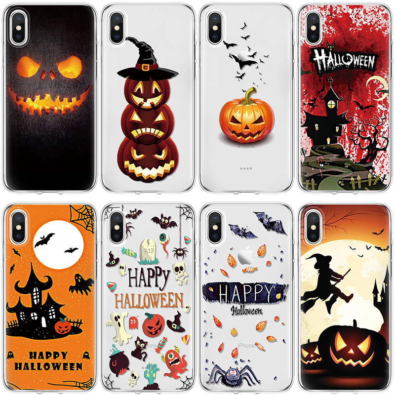 TPU Halloween Capa dla iPhone 11 Pro X Xs Max XR 5 SE 6 S 7 8 Plus dla Huawei P20 P30 Pro Mate 10 20 30 Lite dla Huawei P20 przypadku