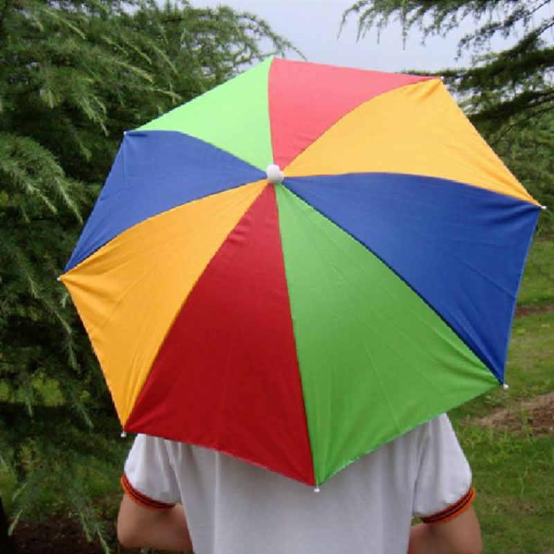 9388dbd1ca1c7 ... 50cm Hands Free Usefull Umbrella Hat Camping Fishing Hiking Festivals Outdoor  Parasol Umbrella Hat Cap For ...