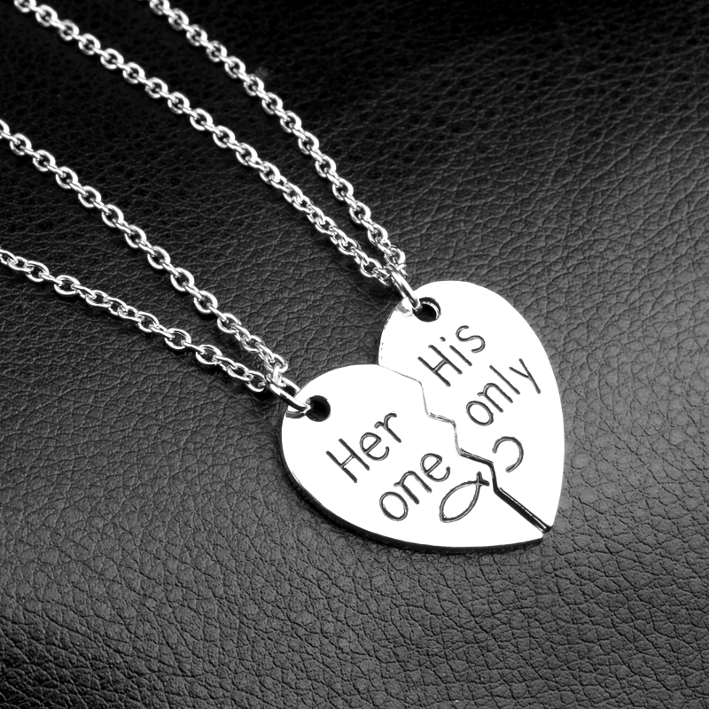 2Pc set 39 Her one His Only 39 New Valentine 39 s Day Fashion Lettering Necklace Broken Heart Couple Pendant Necklaces For Lovers Gift in Pendants from Jewelry amp Accessories