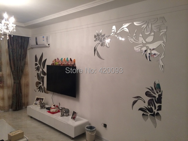 Flower Wall Stickers, Crystal Home Decoration DIY 3D Mirror Surface Sticker, A11 - Wenzhou Funlife Import & Export Co., Ltd. store