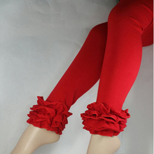 red icing leggings for girls Santa legging with 3 ruffles children icing leg pants Halloween ruffle leggings boutique legs