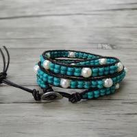 Boho pearl wrap bracelet Freshwater pearl bracelet leather wrap bracelet Pearl leather Blue beads bohemian