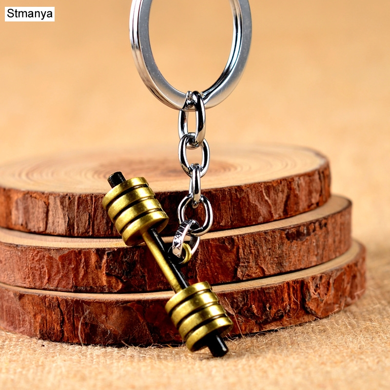 Hot Sale Barbell Dumbbell Fitness Jewelery Key Chain Car Keychain KeyRings For Men Women Keychains Sports Jewelry 17393