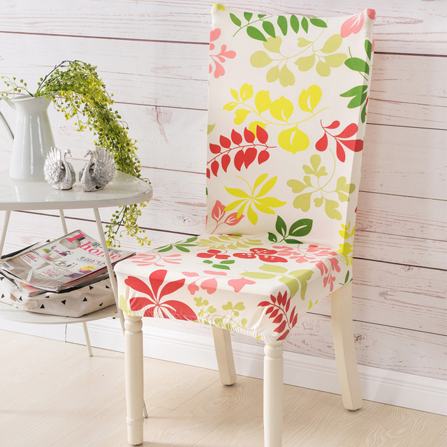 New Stretch Spandex Dining Room Wedding Banquet Muliti Style European Floral Print Pattern Chair Cover Washable