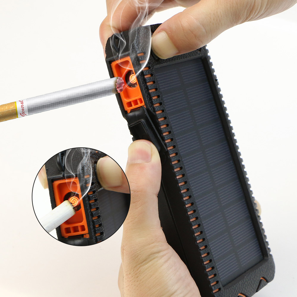 Solar Power Bank 15000 mah Telefon Externe Batterie Solar Ladegerät Solar Power mit Elektronische Zigarette Leichter Power Bank