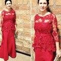 Nueva Llegada Rojo de Satén de Cuentas de Encaje Sirena Madre De La Novia vestidos de manga Larga vestido mae da noiva Plus size Partido vestidos