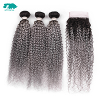 Ombre T1B/Grey 3 Bundles Brazilian Hair Bundles Kinky Curly Weave With Lace Closure Human Hair With 4*4 Lace Closure Remy Hair