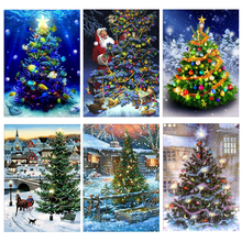 Diamond Embroidered Christmas Tree 5D DIY Painting Cross Stitch Full Round Embroidery Mosaic