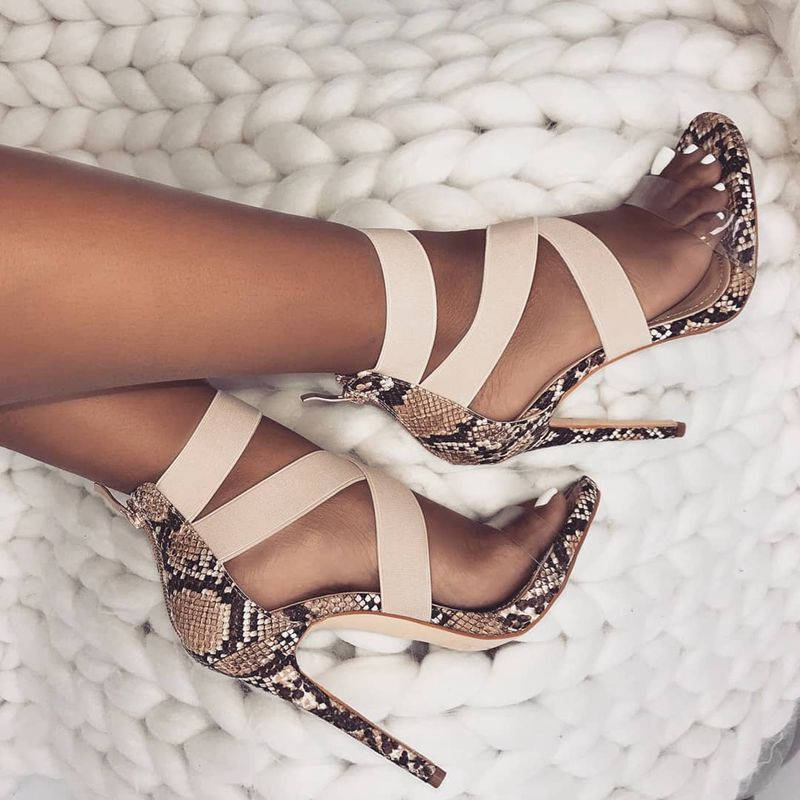 New 2019 Fashion Snake Leather Peep Toe High Heeled Sandals Sexy Open Toe Thin High Heels Sandals Party Dress Women Shoes Women's Shoes