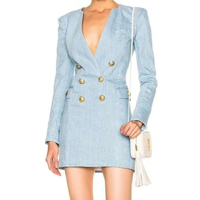HIGH STREET New Fashion 2018 Designer Dress Women s Long Sleeve Metal Lion Buttons Double Breasted