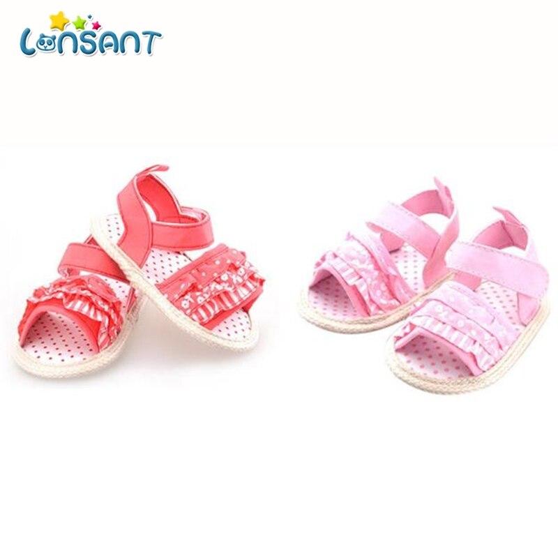 LONSANT 2018 сладкий прекрасный летняя повседневная обувь Ruched Цветочный принт плоской подошве с каблуком обувь наряд 0-18 м E1115