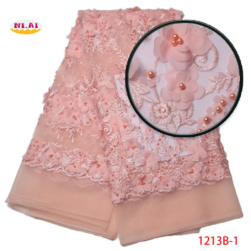White African Lace Fabric 2018 High Quality Lace Pink Red Yellow French Lace Fabric With Beads
