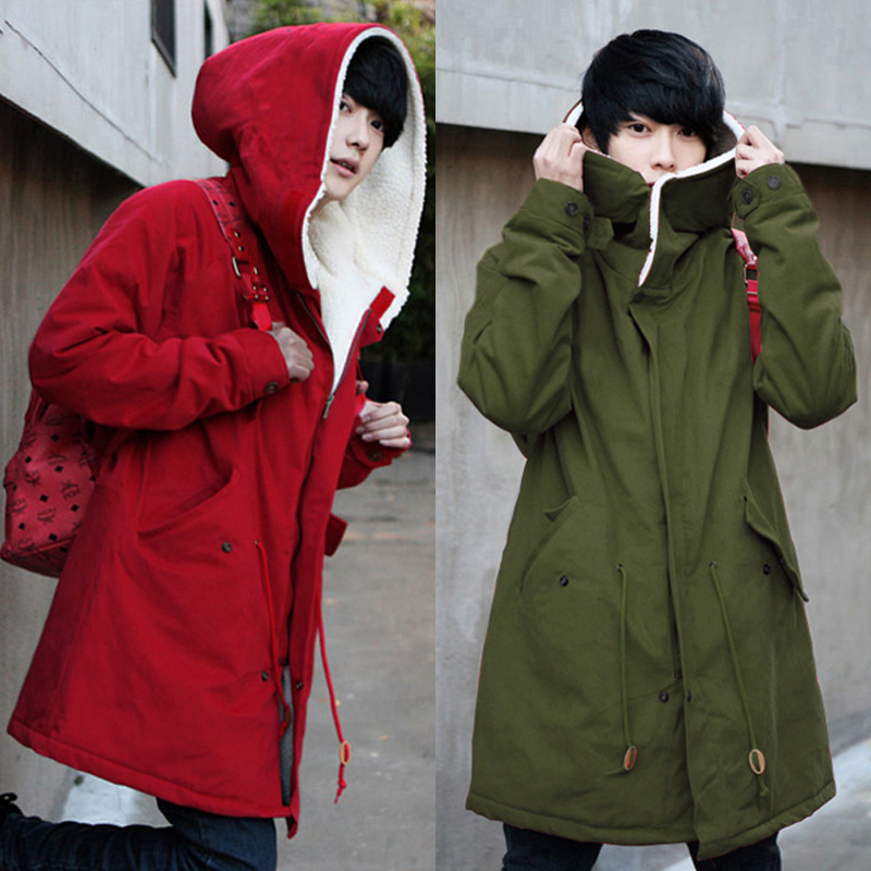 Winter Cotton Thick Warm Windbreaker Korean Version Of The Self-cultivation Hooded Long Cotton Coat Lovers Jacket Fh58 Trench