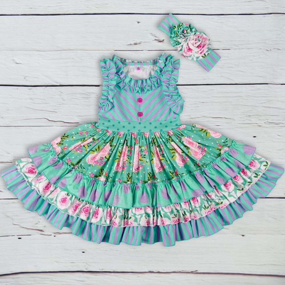 真新しい夏の女の子のドレスノースリーブの女の子カジュアルマキシドレスファッションシェブロン子供ヘッドバンドなしの服LYQ803-080オフショア水着花柄