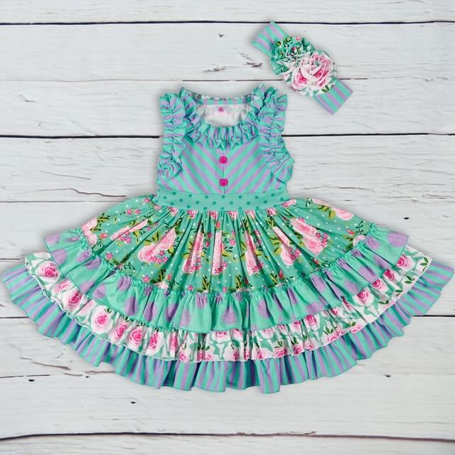 العلامة التجارية الجديدة فستان بناتي صيفي بلا أكمام الفتيات فساتين ماكسي عادية موضة شيفرون الاطفال الملابس دون عقال LYQ803 080
