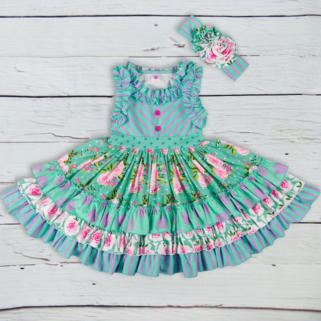 Brand New Summer Girl Dress Sleeveless Girls Casual Maxi Dresses Fashion Chevron Kids Clothes Without Headband LYQ803 080