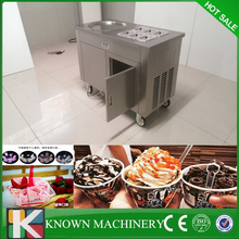 High quality with pedal defrsot 110v/220v 1 pan with 6 cooling food tanks fried ice cream machine roll