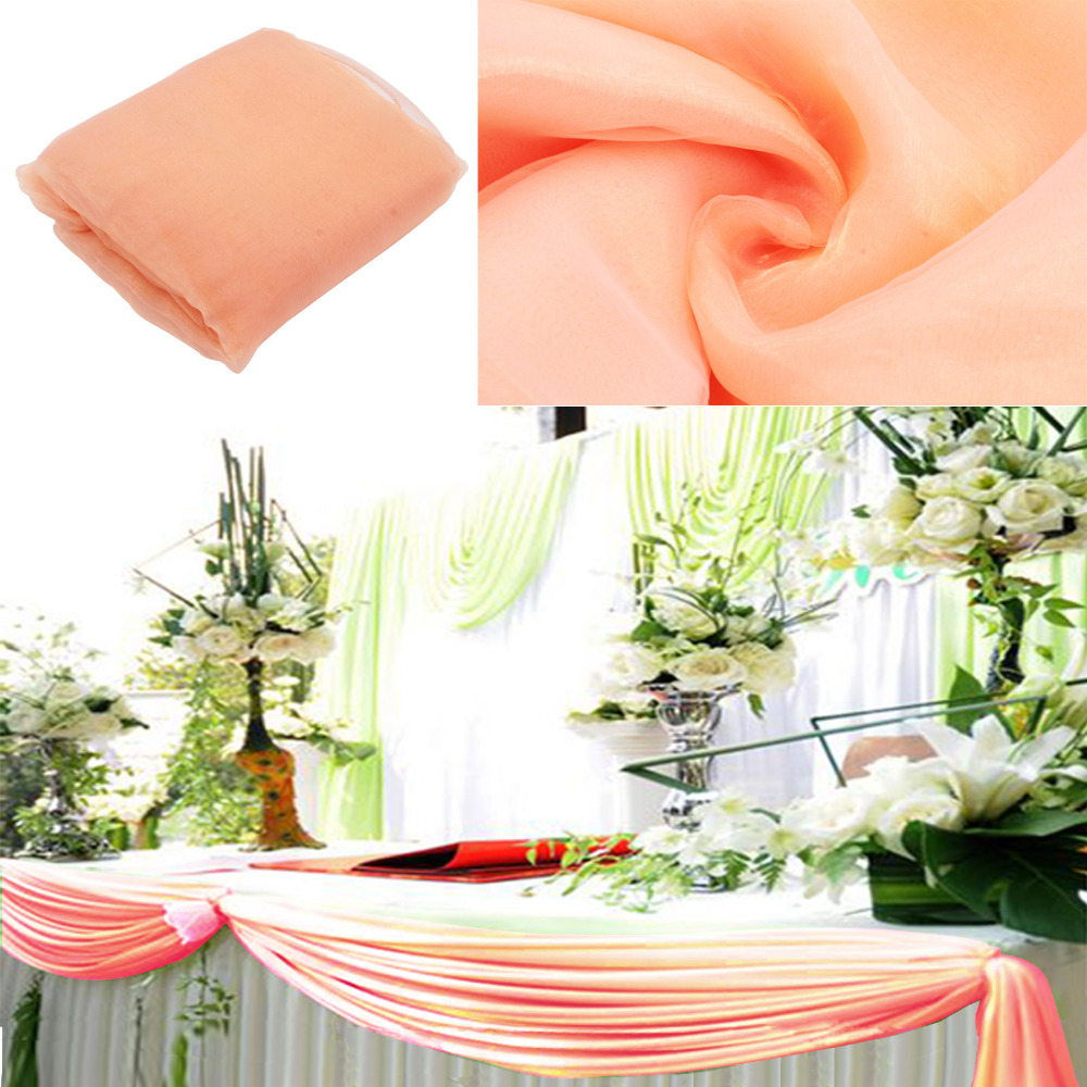 Peach colour 10m organza swag fabric wedding for Background curtain decoration