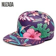 Brands NUZADA 2017 Leopard Men Women Baseball Cap Snapback Printing Flowers Couple Hip Hop Hats Quality Cotton Caps Bone