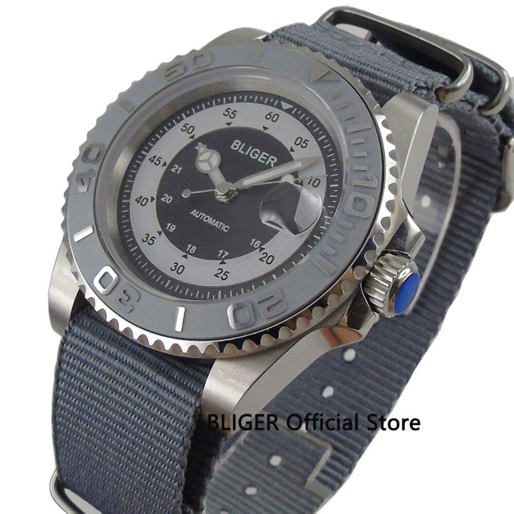 Sapphire Crystal 40mm BLIGER Zwart Steriele Wijzerplaat Zilver Keramische Bezel Luminous Marks Datum Display Automatisch Uurwerk Horloge-in Mechanische Horloges van Horloges op  Groep 3