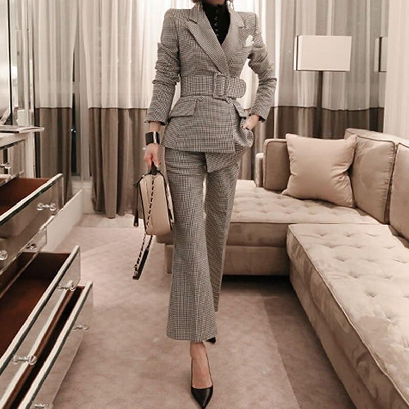 100% Wahr Herbst Winter Business Frauen 2 Stück Anzug Set Lange ärmeln Asymmetrische Karierten Blazer Und Hose Büro Dame Anzüge Hosen Anzug Jacke