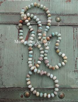 Boho Chic Pave Crystal Beads long Roundel Amazonite Beaded Long Wrap Beaded Necklace