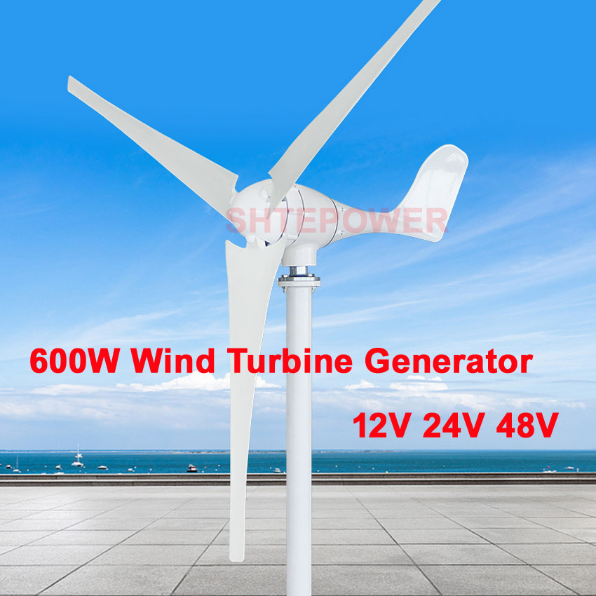48V low start up wind speed 600W windmill 3 blades 5 blades Max 630W Wind Turbines Small home Free shipping 12V/24V/48V