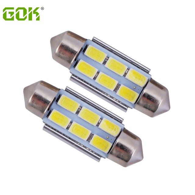 20pcs/lot  White festoon 6smd 31mm 36mm 39mm 42mm c5w 6led 5730 5630 LED Festoon Light Bulbs for Interior License Plate Lights