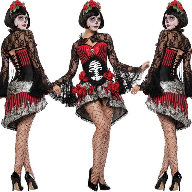 7f3f4807606 Day of The Dead Costume Sugar Skull Dia de Los Muertos Halloween Fancy Dress