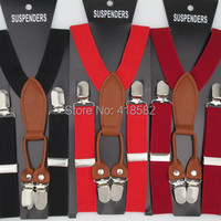 BD027 10pcs Lot Hot 2 5 65cm 12 Colors Leather Baby Suspenders High Quality 4 Clips