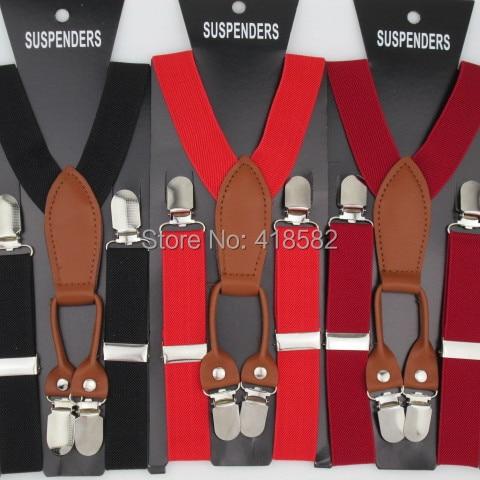 BD027-- 10pcs/lot Hot 2.5*65cm 12 Colors Leather Baby Suspenders High Quality 4 Clips Adjustable Elastic Braces Kids Accessories