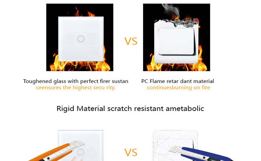 10-Touch Switch-Light Switch-Touch Switch-Wall Light Switches-Fireproof Crystal Glass Panel-Wall Mounted Switch-for Home Hotels