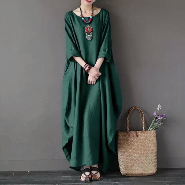 95ba0c25ad1 Women Vintage Cotton Dress 2018 Summer Vestido Casual O Neck Long Sleeve  Pockets Loose Green Maxi Dress Plus Size L-4XL clothing