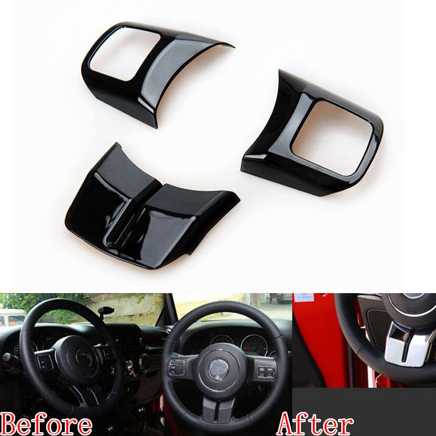 3x Car Styling Interior Steering Wheel Cover Trim Sticker Black Fit For Jeep Patriot Compass Wrangler 2011-2015 Car Accessories yuzhe auto automobiles leather car seat cover for jeep grand cherokee wrangler patriot compass 2017 car accessories styling