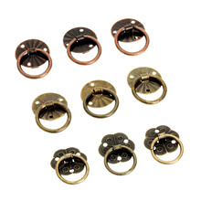 12pcs Antique Brass Decorative Mini Jewelry Chest Box Furniture Handle Cabinet Dresser Drawer Pull Knob Ring Door w/Screw