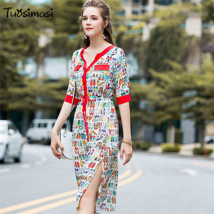 2018 new spring summer half sleeve V neck slik shoses print Loose tie OL dress(UL094)