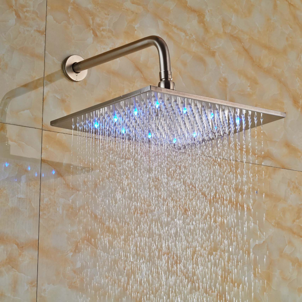 "Здесь продается  12"" Color Changing LED Shower Faucet Head Wall Mount Brushed Nickel Showerhead with Shower Arm  Строительство и Недвижимость"