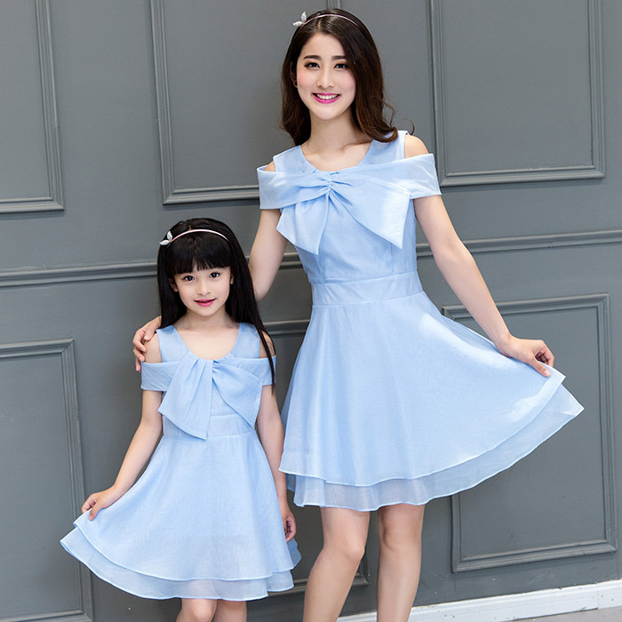 2016 summer Korean fashion princess girls dress Bow Family Matching Outfits mother daughter dresses baby girl clothes