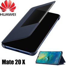 Original Official Huawei Mate 20 X Flip Case Huawei Mate 20 X Leather Case Smart Touch View Window Cover Mate 20X phone Cases(China)