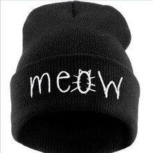 Fashion Meow Cap Men Casual Hip-hop Caps Knitted Wool Beanie Hat Skullies Warm Winter Hat for Women Drop Shipping